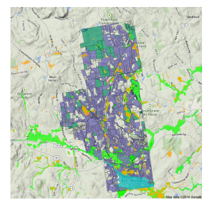 Amherst, NH parcel map.  Colored lots are either developed, conservation land, town property, commercial/industrial, or floodplain/wetland.  Data courtesy of Nashua Regional Planning Commission.